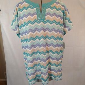 Alfred Dunner Cozumel crochet front blouse NWT